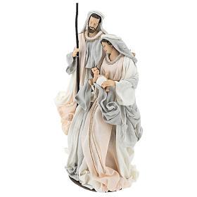 Natividade resina com base tecido cor de marfim e cinzento 47 cm s3