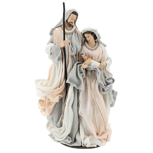 Natividade resina com base tecido cor de marfim e cinzento 47 cm 1