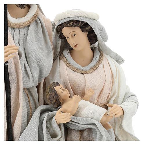 Natividade resina com base tecido cor de marfim e cinzento 47 cm 2