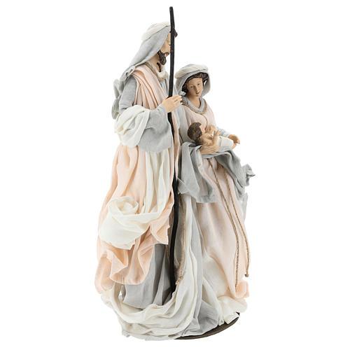 Natividade resina com base tecido cor de marfim e cinzento 47 cm 4