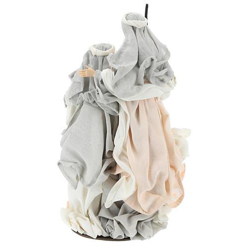 Natividade resina com base tecido cor de marfim e cinzento 47 cm 5