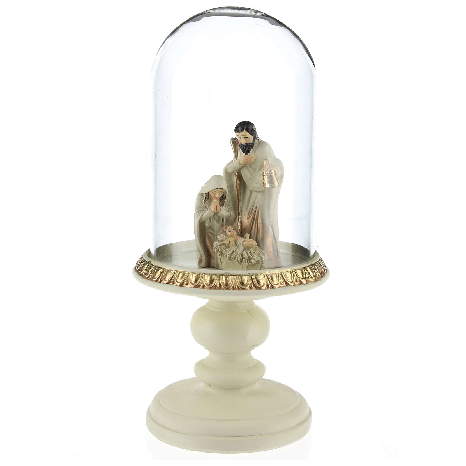 Nativity in resin 8 cm Brown finish with glass dome 21 cm 3