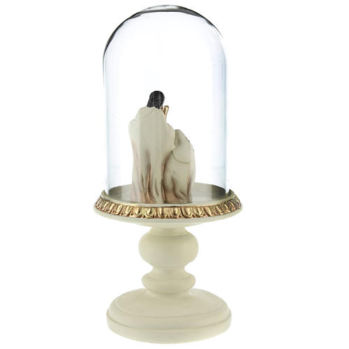 Nativity in resin 8 cm Brown finish with glass dome 21 cm 5