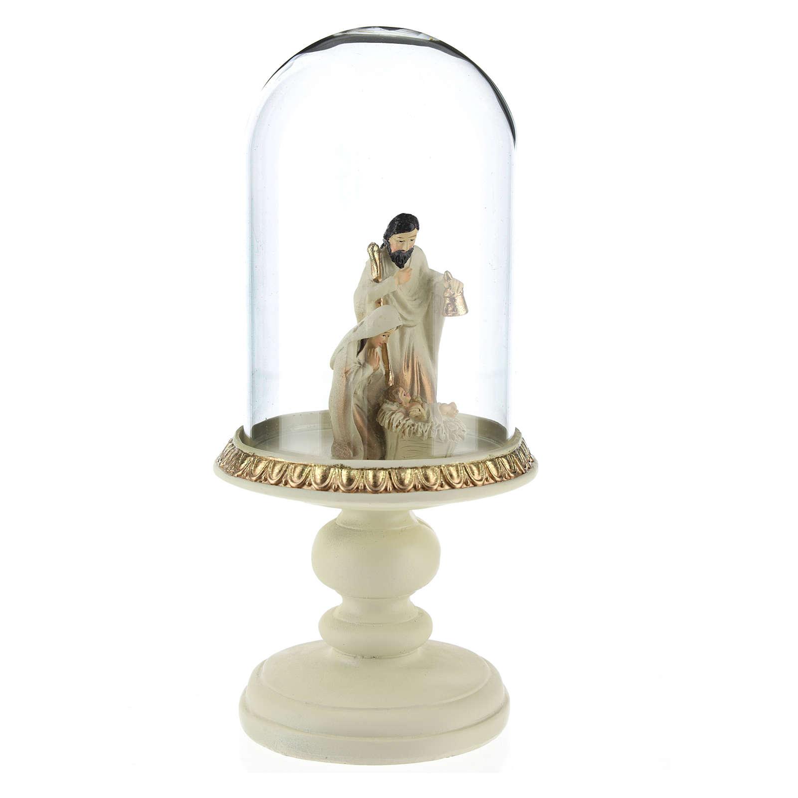 Nativité en résine 8 cm marron avec cloche en verre 21 cm 3