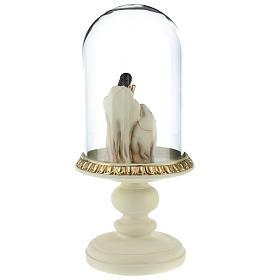 Nativité en résine 8 cm marron avec cloche en verre 21 cm s5