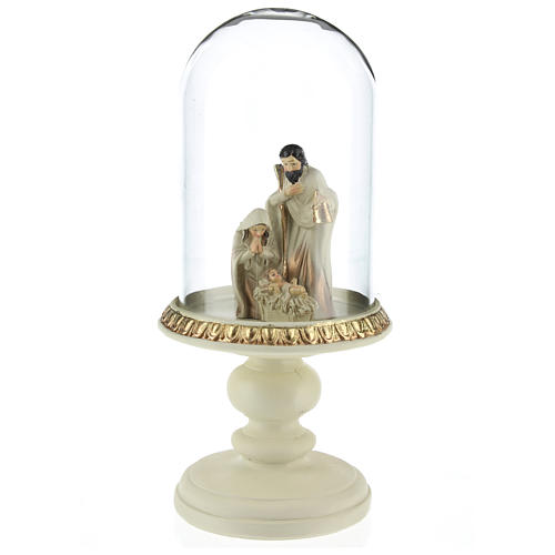 Nativité en résine 8 cm marron avec cloche en verre 21 cm 2