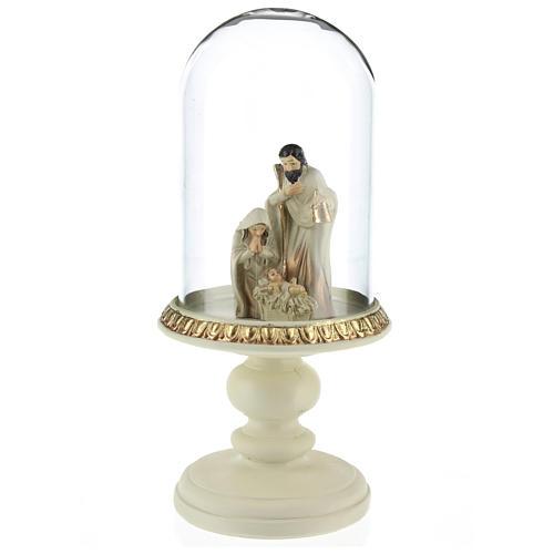 Natividade em resina 8 cm castanho com cúpula de vidro 21 cm 2