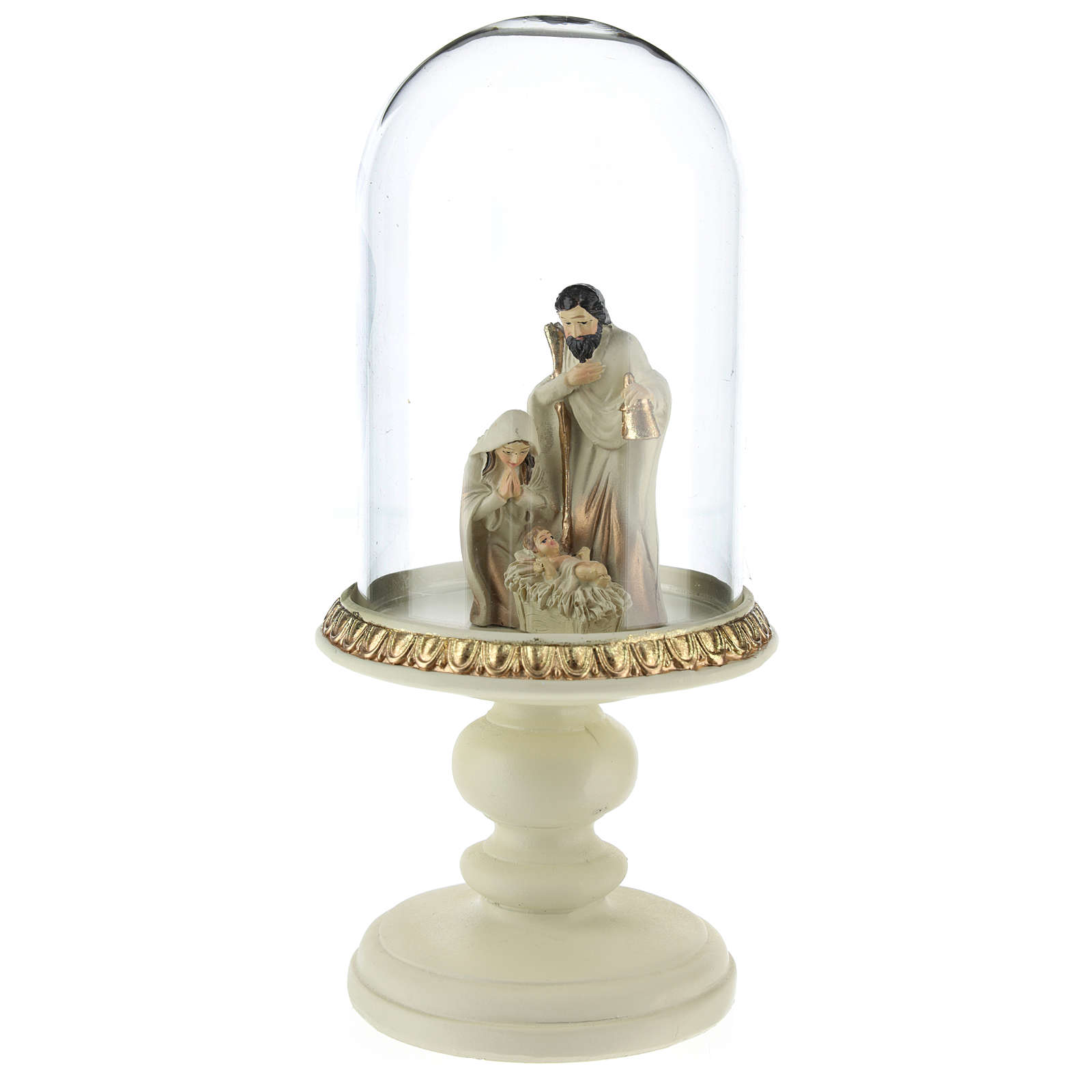 Nativity in resin 8 cm Brown with glass dome 21 cm 3