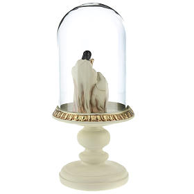 Nativity in resin 8 cm Brown with glass dome 21 cm s5