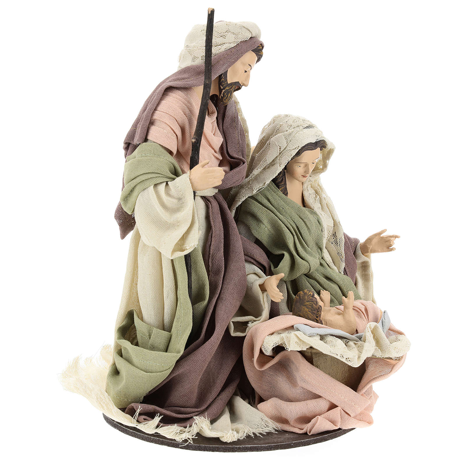 Nativity 28 cm in Shabby Chic style with fabric and lace details 3