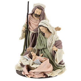 Nativity 28 cm in Shabby Chic style with fabric and lace details s3