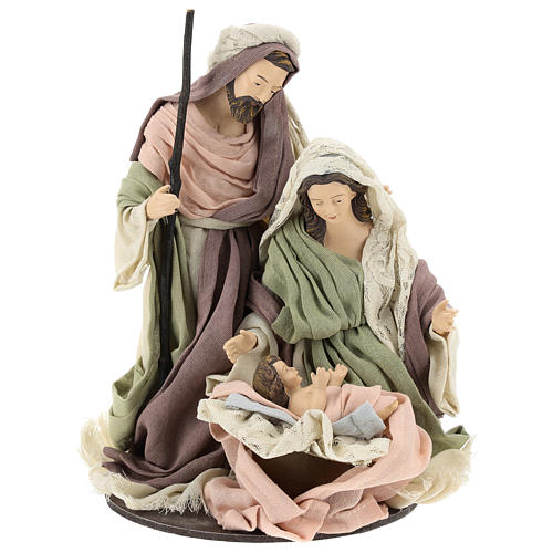 Nativity 28 cm in Shabby Chic style with fabric and lace details 1