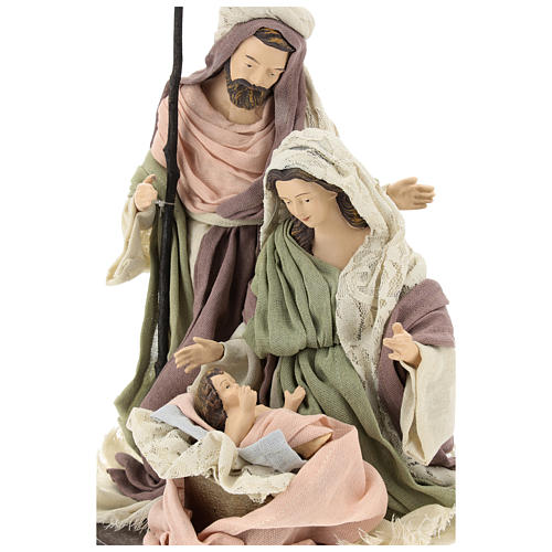 Nativity 28 cm in Shabby Chic style with fabric and lace details 2