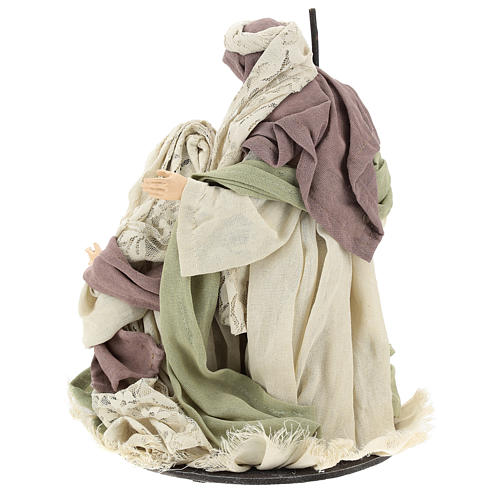 Nativity 28 cm in Shabby Chic style with fabric and lace details 5