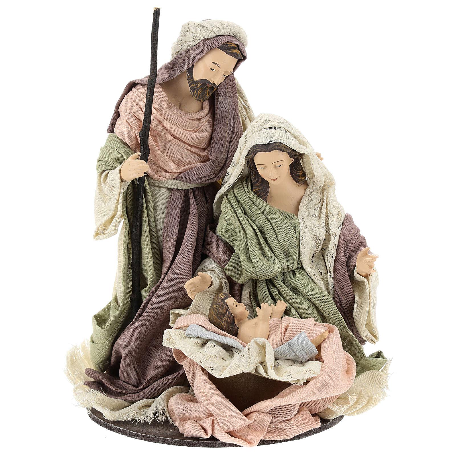 Natividad con base de madera con detalles de gasa y encaje 28 cm 3
