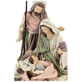 Natividad con base de madera con detalles de gasa y encaje 28 cm s2