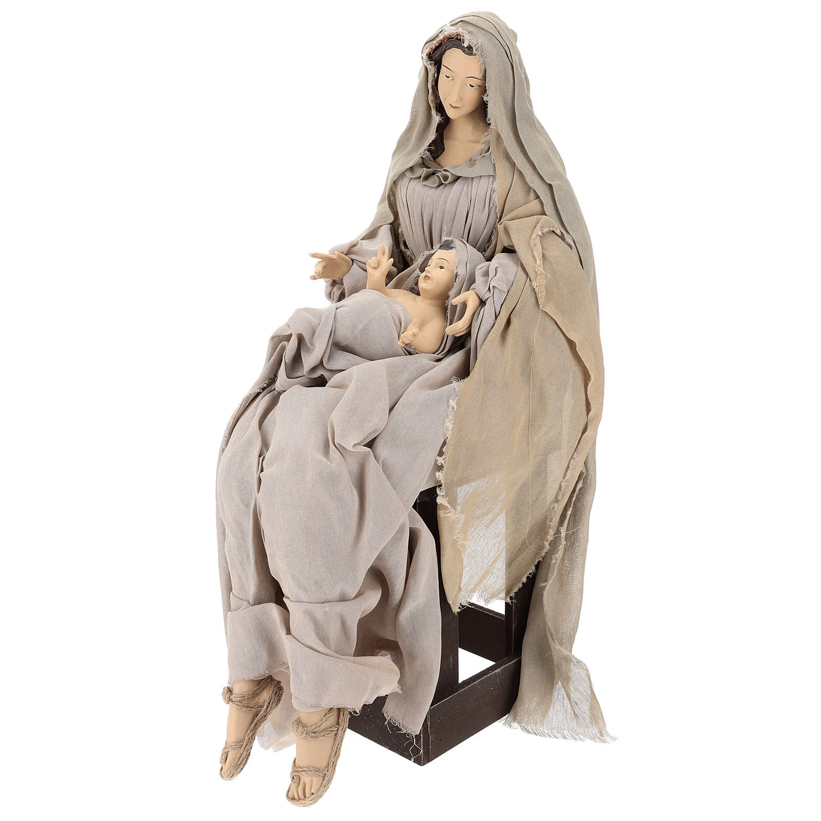 Natividad con base de madera con detalles de gasa y encaje 80 cm 3