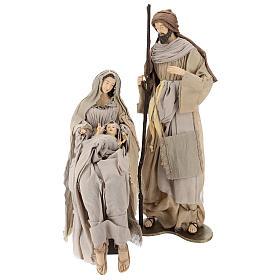 Natividad con base de madera con detalles de gasa y encaje 80 cm s1