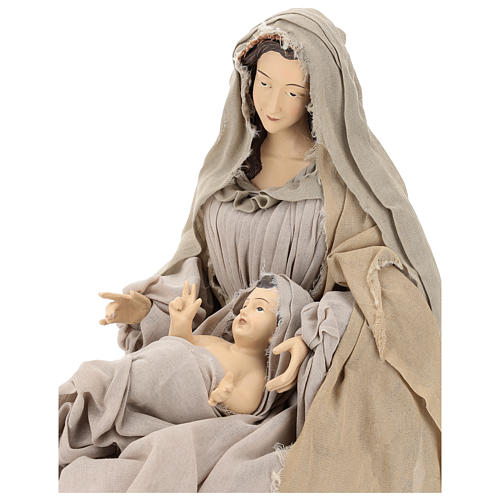 Natividad con base de madera con detalles de gasa y encaje 80 cm 2