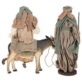 Natividad 40 cm de terracota con burro gasa verde y burdeos s6