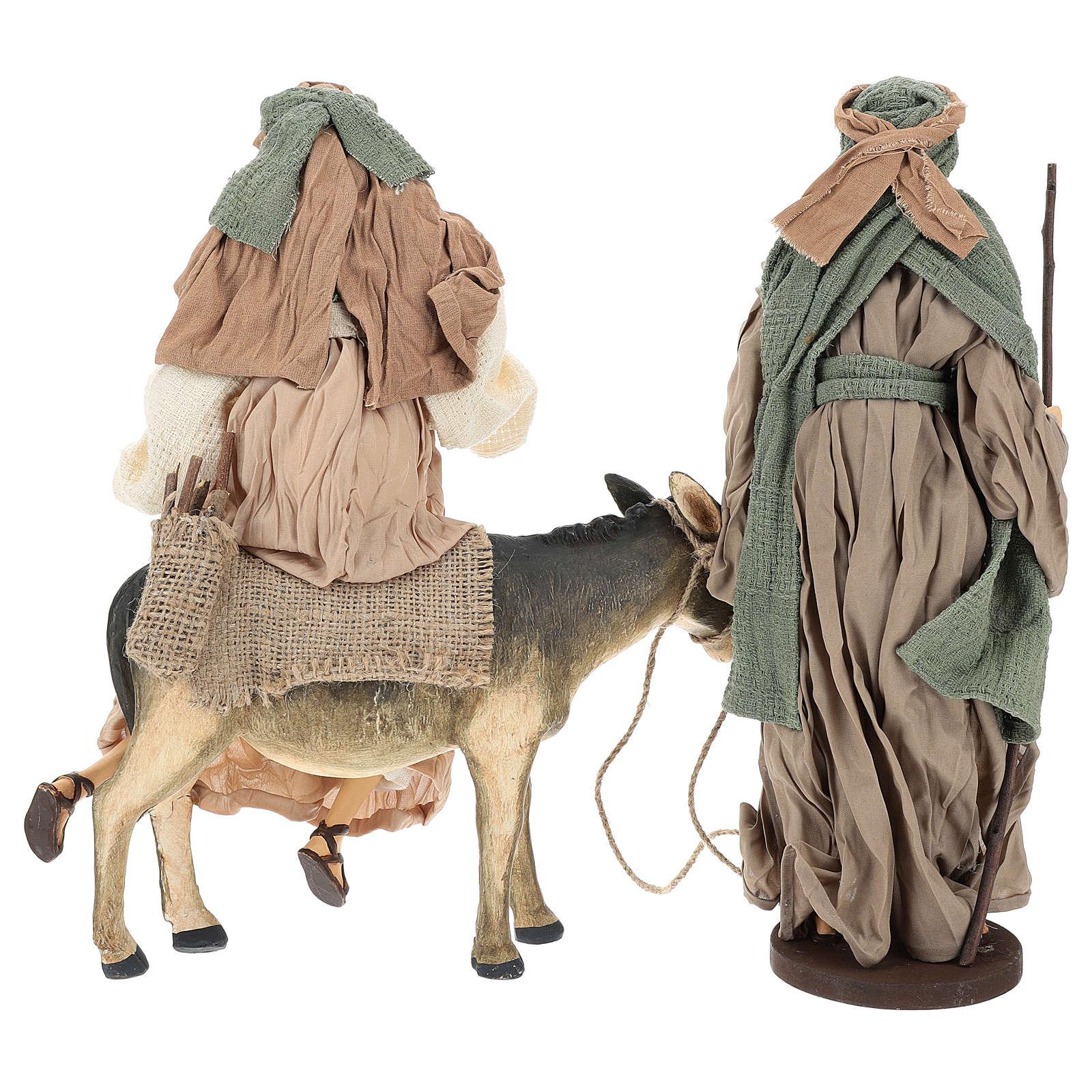 Natività 40 cm in terracotta con asinello garza verde e bordeaux 3