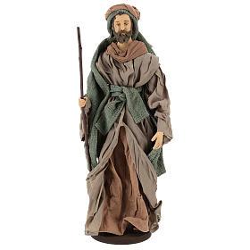 Natività 40 cm in terracotta con asinello garza verde e bordeaux s3