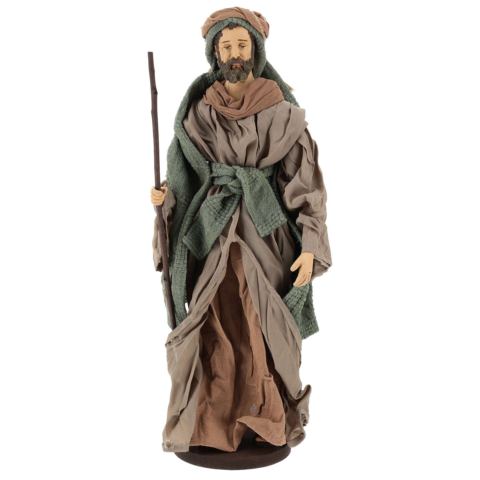 Holy Family statue 40 cm, in terracotta with donkey, green and bordeaux gauze 3