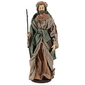 Holy Family statue 40 cm, in terracotta with donkey, green and bordeaux gauze s3