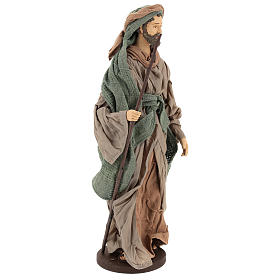 Holy Family statue 40 cm, in terracotta with donkey, green and bordeaux gauze s5