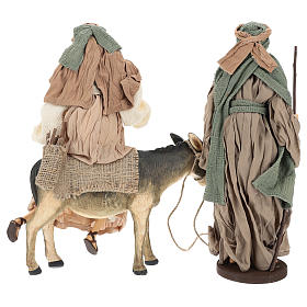 Holy Family statue 40 cm, in terracotta with donkey, green and bordeaux gauze s6