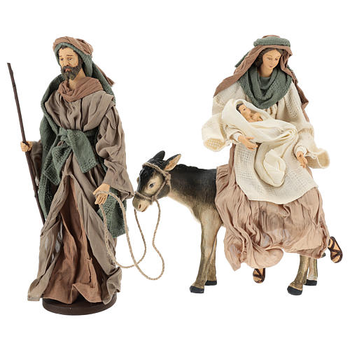Holy Family statue 40 cm, in terracotta with donkey, green and bordeaux gauze 1