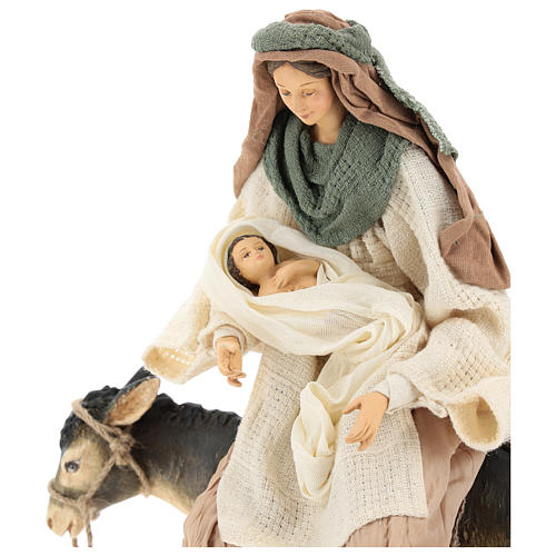 Holy Family statue 40 cm, in terracotta with donkey, green and bordeaux gauze 2