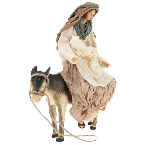Holy Family statue 40 cm, in terracotta with donkey, green and bordeaux gauze 4