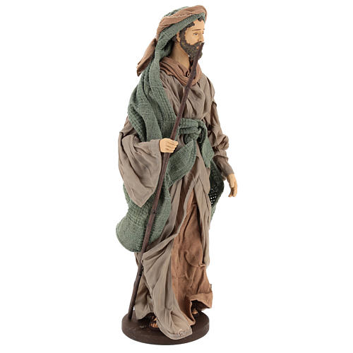 Holy Family statue 40 cm, in terracotta with donkey, green and bordeaux gauze 5