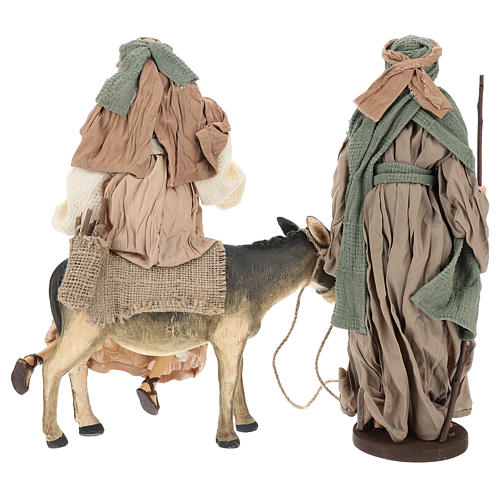 Holy Family statue 40 cm, in terracotta with donkey, green and bordeaux gauze 6