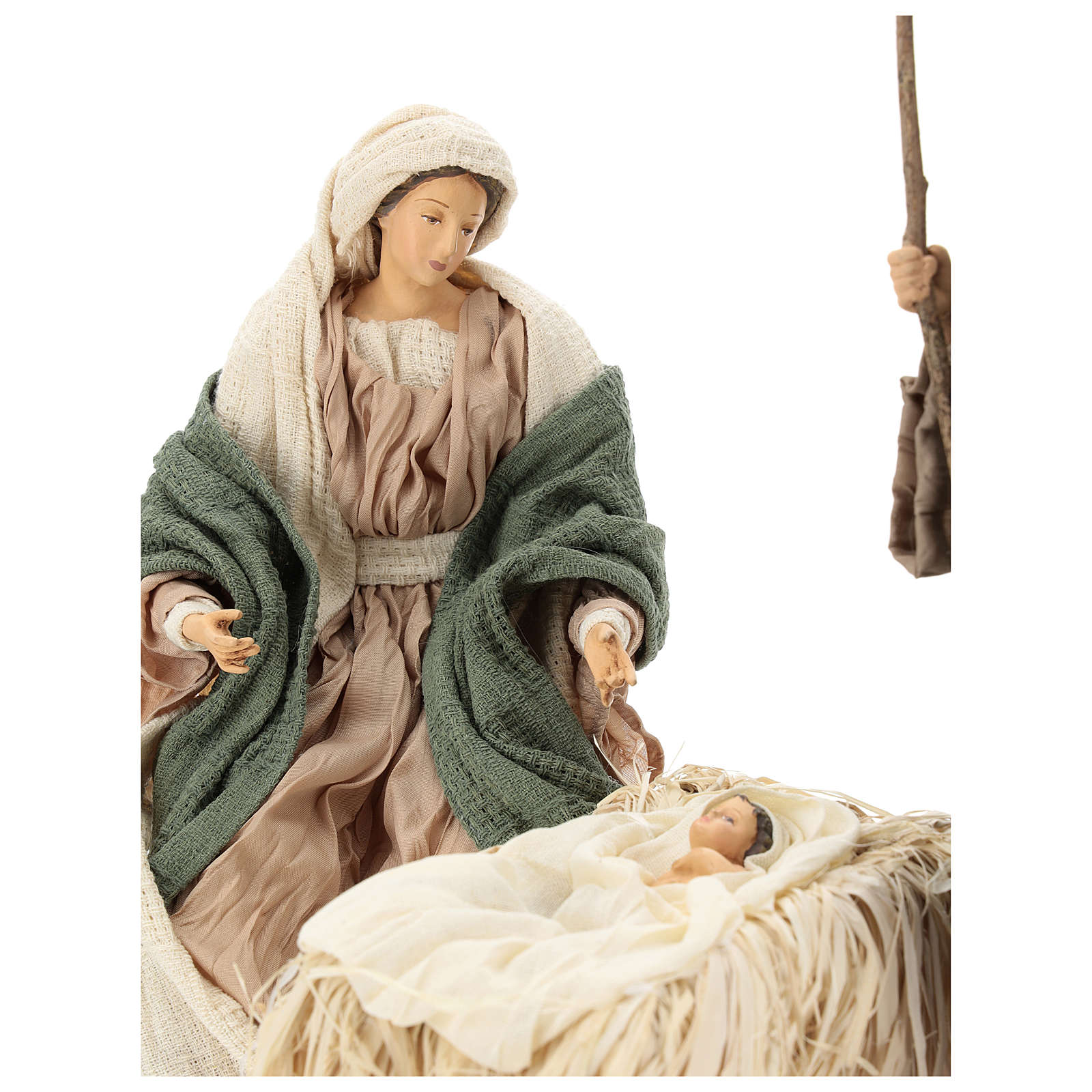 Nativity 30 cm Shabby Chic style with green and beige fabric used to recreate the clothes of the  figurines 3