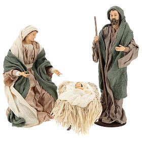 Nativity 30 cm Shabby Chic style with green and beige fabric used to recreate the clothes of the  figurines s1