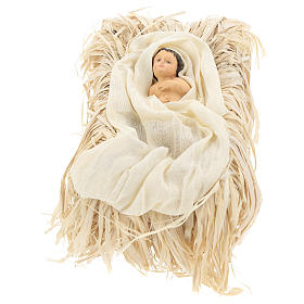 Nativity 30 cm Shabby Chic style with green and beige fabric used to recreate the clothes of the  figurines s3