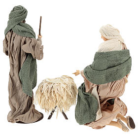Nativity 30 cm Shabby Chic style with green and beige fabric used to recreate the clothes of the  figurines s6