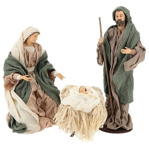 Nativity 30 cm Shabby Chic style with green and beige fabric used to recreate the clothes of the  figurines 1