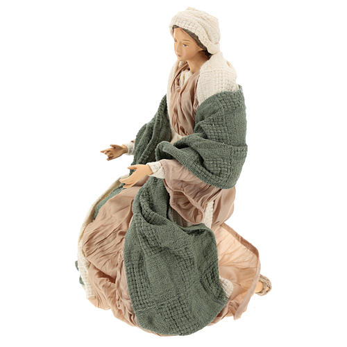 Nativity 30 cm Shabby Chic style with green and beige fabric used to recreate the clothes of the  figurines 4