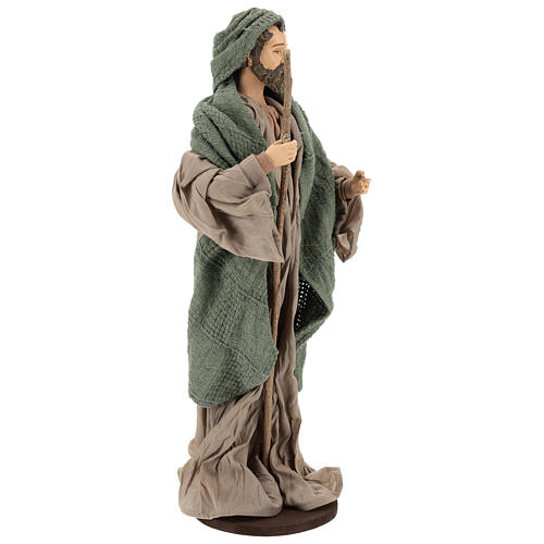 Nativity 30 cm Shabby Chic style with green and beige fabric used to recreate the clothes of the  figurines 5
