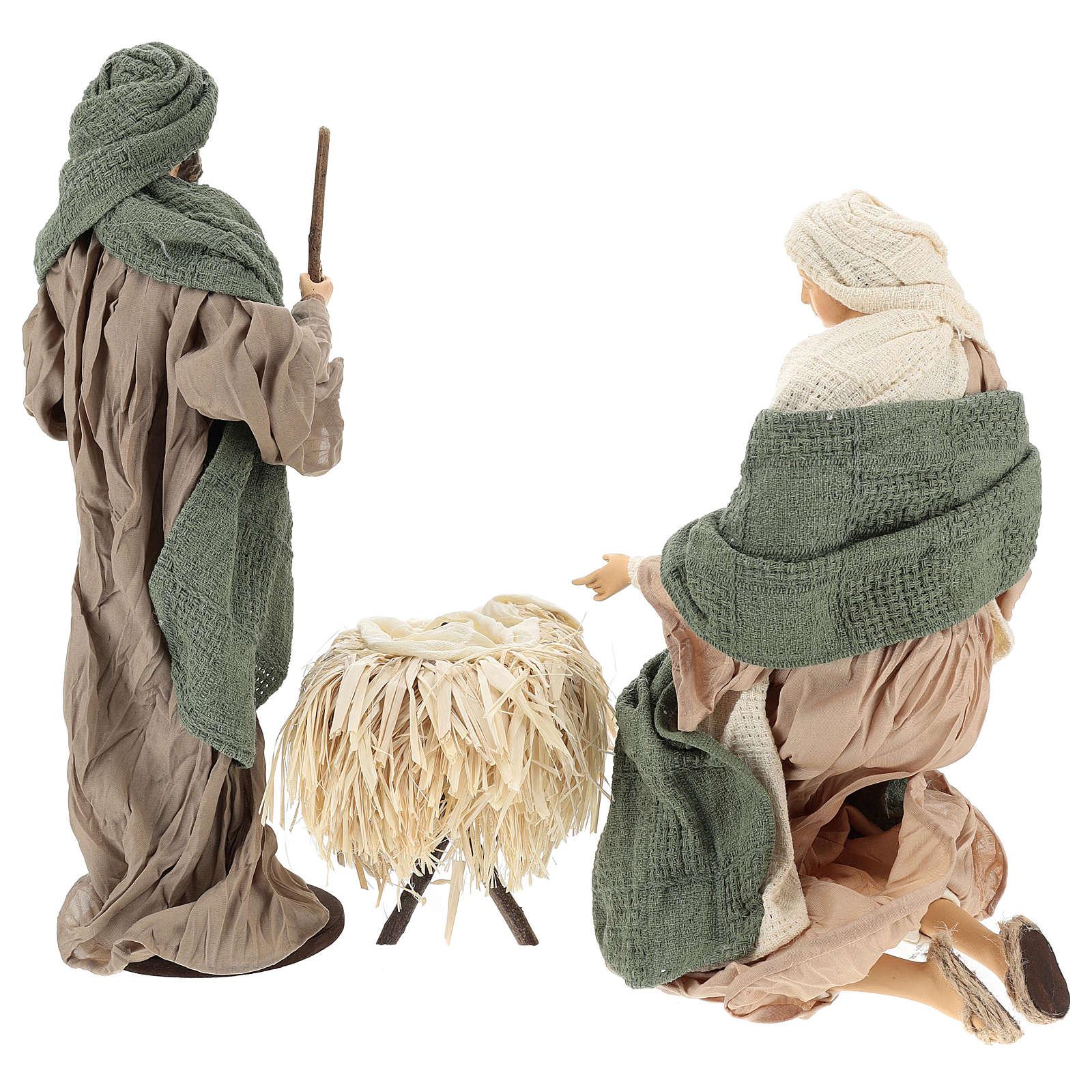 Nativité 30 cm en résine et tissu vert et beige 3