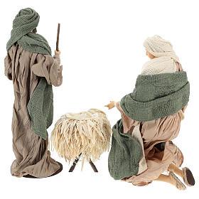 Nativité 30 cm en résine et tissu vert et beige s6