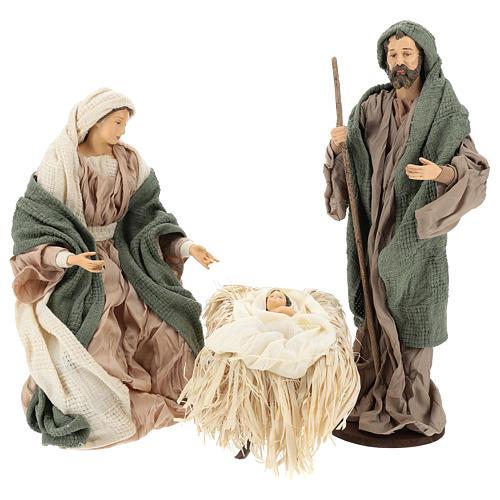 Nativité 30 cm en résine et tissu vert et beige 1