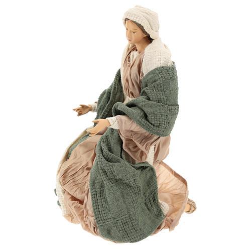 Nativité 30 cm en résine et tissu vert et beige 4