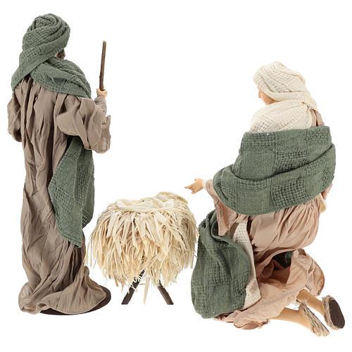 Nativité 30 cm en résine et tissu vert et beige 6