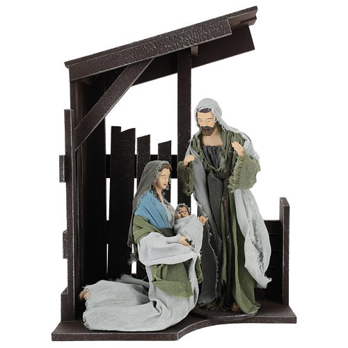 Holy Family statues 30 cm with stable, Shabby Chic style 1