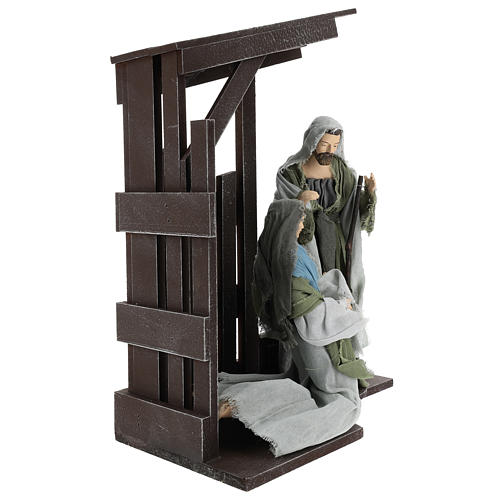 Holy Family statues 30 cm with stable, Shabby Chic style 4