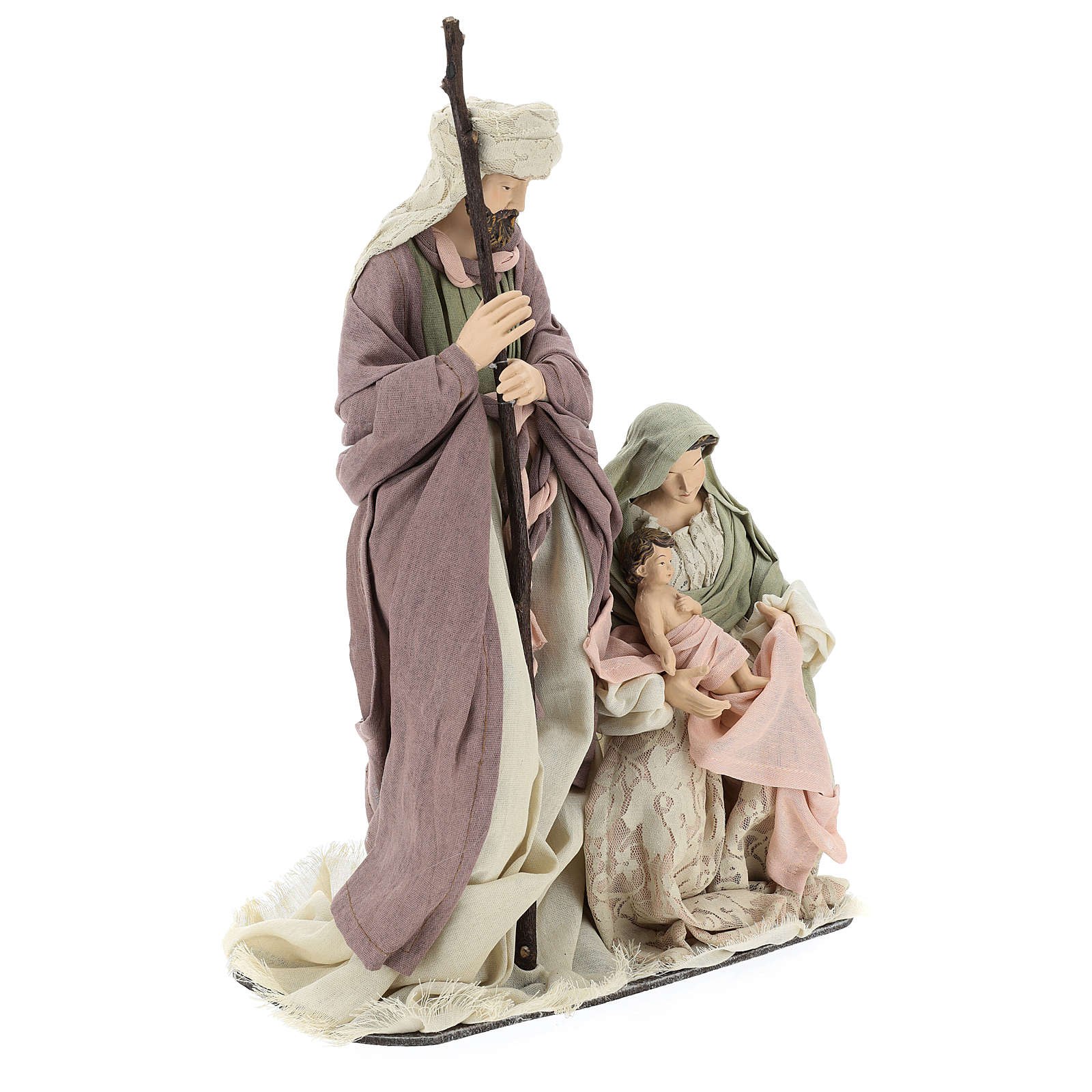 Nativity 45 cm in Shabby Chic style with fabric and lace details 3